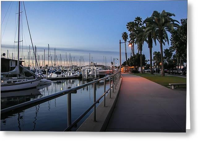 """docked Boats"" Greeting Cards - Sunrise Over Santa Barbara Marina Greeting Card by Tom Mc Nemar"