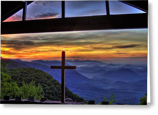 Great Smokey Mountains Greeting Cards - Sunrise over SC from NC Greeting Card by Reid Callaway