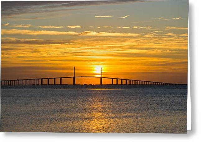 People Greeting Cards - Sunrise Over Sunshine Skyway Bridge Greeting Card by Panoramic Images