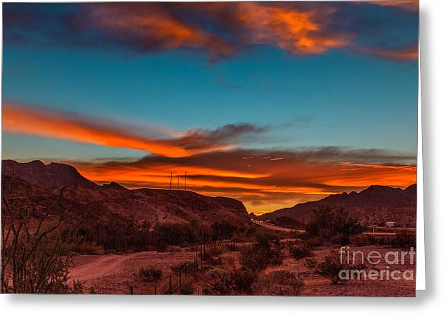 Yuma Greeting Cards - Sunrise Over Telegraph Pass  Greeting Card by Robert Bales