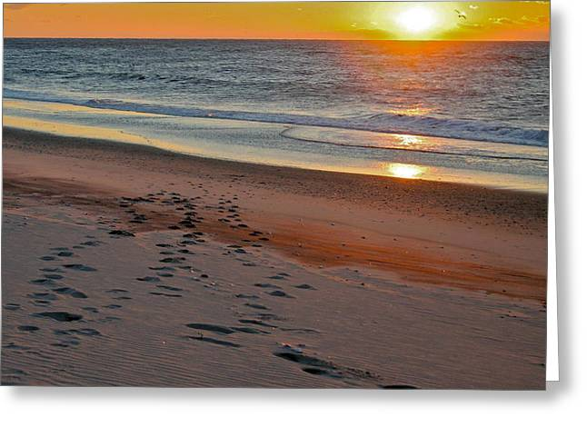 York Beach Pyrography Greeting Cards - Sunrise Over the Atlantic Greeting Card by Patricia Innes