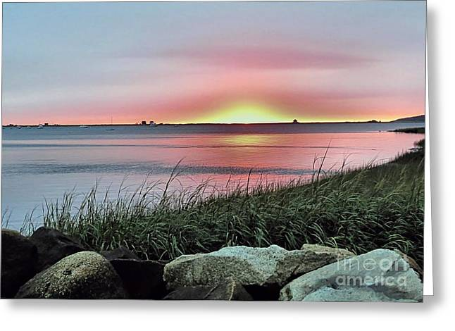 Plymouth Harbor Greeting Cards - Sunrise Over the Bay Greeting Card by Janice Drew