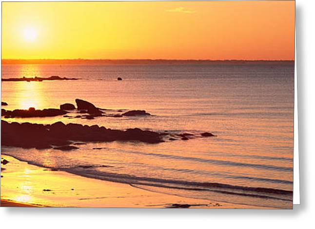 Beg Greeting Cards - Sunrise Over The Beach, Beg Meil Greeting Card by Panoramic Images