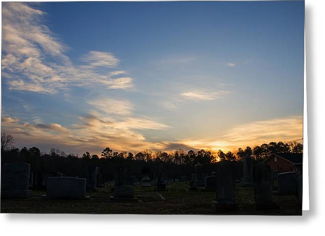 Landscape Posters Greeting Cards - Sunrise over the cemetary Greeting Card by Chris Flees