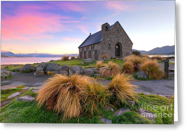Shepherds Photographs Greeting Cards - Sunrise over the Church of the Good Sheperd Greeting Card by Bill  Robinson