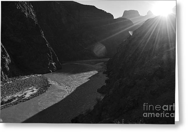 Scenic Landscape Greeting Cards - Sunrise over the Colorado River along Bright Angel Trail Grand Canyon National Park Black and White Greeting Card by Shawn O