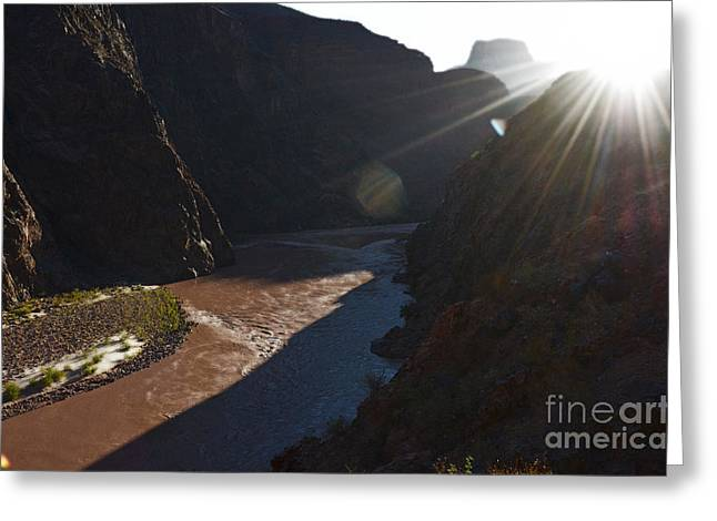 National Parks Greeting Cards - Sunrise over the Colorado River along Bright Angel Trail Grand Canyon National Park Diffuse Glow Greeting Card by Shawn O