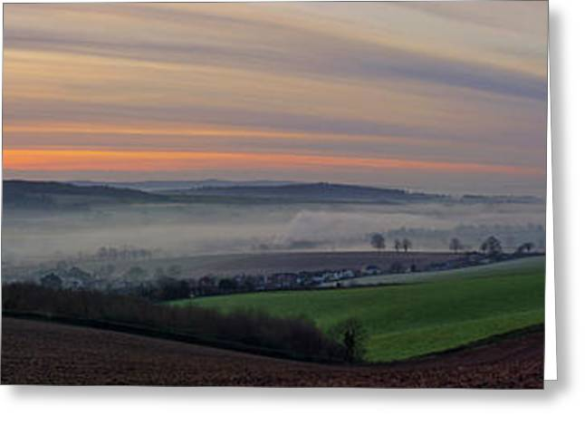 Culm Greeting Cards - Sunrise over the Culm valley Greeting Card by Pete Hemington