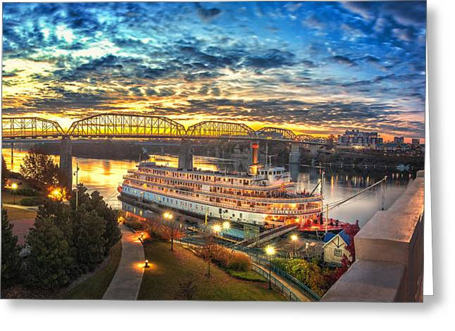 Recently Sold -  - Streetlight Greeting Cards - Sunrise Over The Delta Queen Greeting Card by Steven Llorca