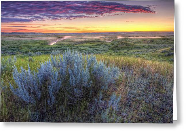 Hdr Landscape Greeting Cards - Sunrise Over The Frenchman River Valley Greeting Card by Robert Postma