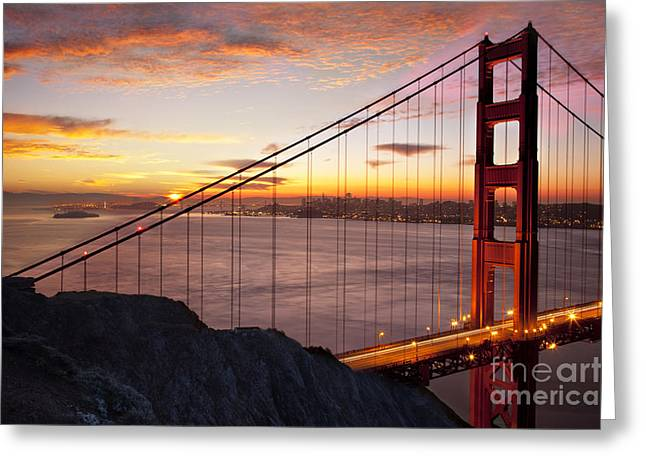 Sunrise over the Golden Gate Bridge Greeting Card by Brian Jannsen