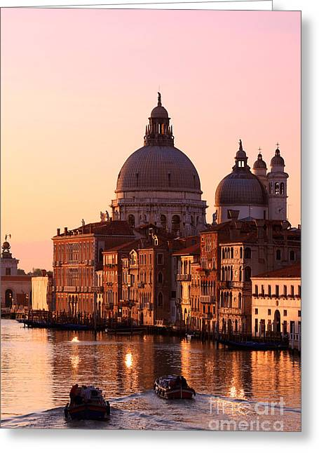 Cupola Greeting Cards - Sunrise over the Grand Canal - Venice Greeting Card by Matteo Colombo