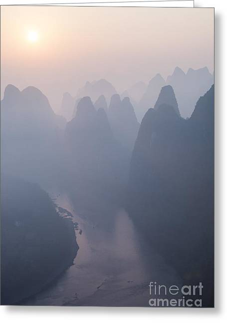 Lichen Photo Greeting Cards - Sunrise over the karst peaks - China Greeting Card by Matteo Colombo