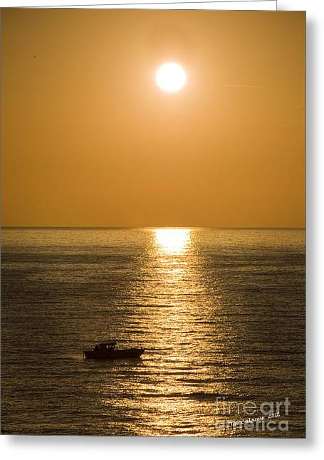Reflections Of Sun In Water Greeting Cards - Sunrise Over The Mediterranean Greeting Card by Jim  Calarese