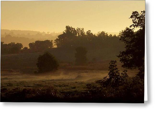Sunrise Over The Mist Greeting Card by Mary Wolf