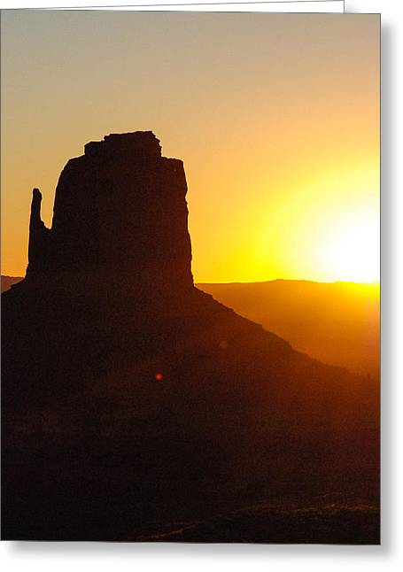 Geobob Greeting Cards - Sunrise over The Mittens Navajo Tribal Park Monument Valley Oljato Utah Greeting Card by Robert Ford
