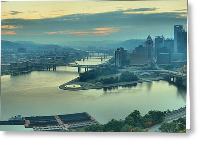Incline Greeting Cards - Sunrise Over The Ohio Greeting Card by Adam Jewell