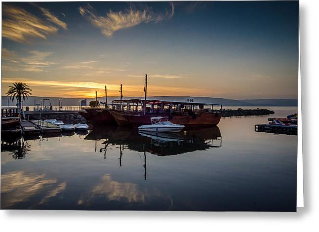 Jesus Greeting Cards - Sunrise over the Sea of Galilee Greeting Card by David Morefield