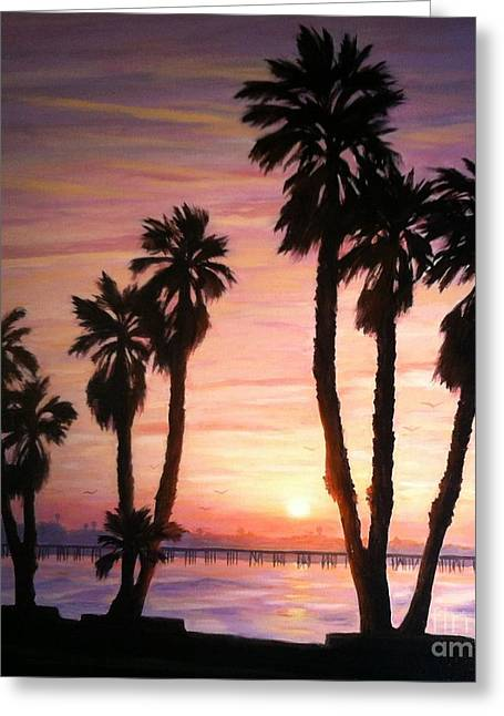 Beach Sunsets Drawings Greeting Cards - Sunrise Over the Ventura Pier Greeting Card by Tina Obrien