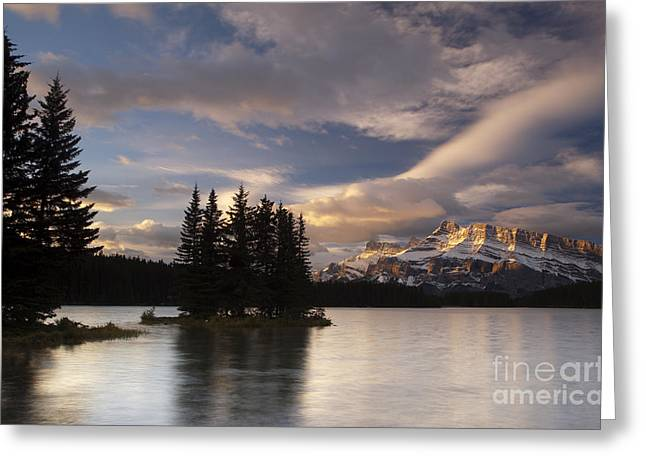 Calm Water Reflection Greeting Cards - Sunrise over Two Jack Greeting Card by Keith Kapple
