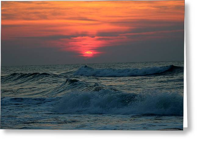 Surf City Greeting Cards - Sunrise over waves Greeting Card by Rand Wall