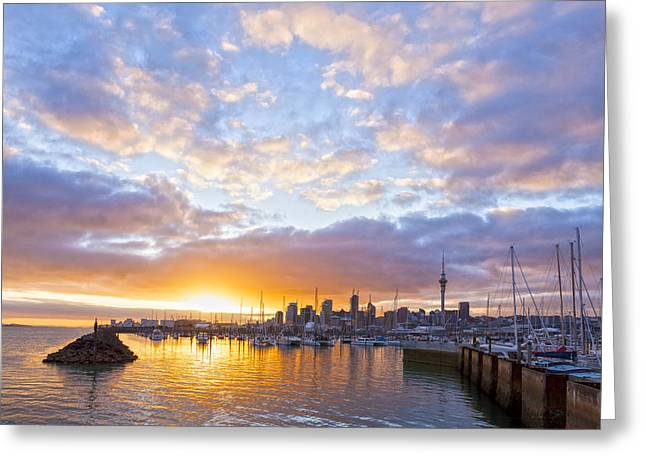 Sunrise Over Westhaven Marina Auckland New Zealand Greeting Card by Colin and Linda McKie