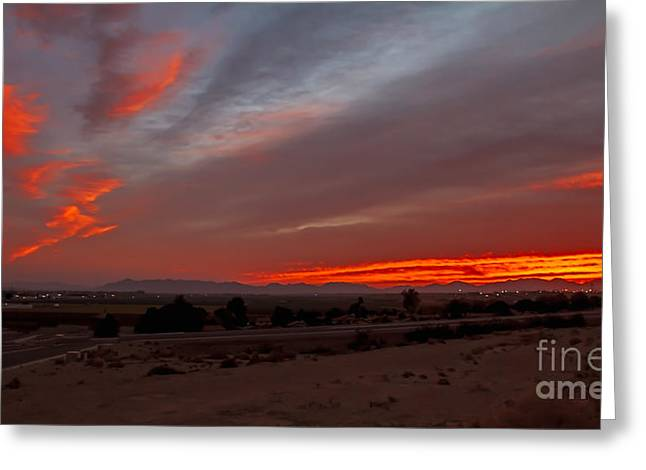 Haybale Greeting Cards - Sunrise Over Yuma Greeting Card by Robert Bales
