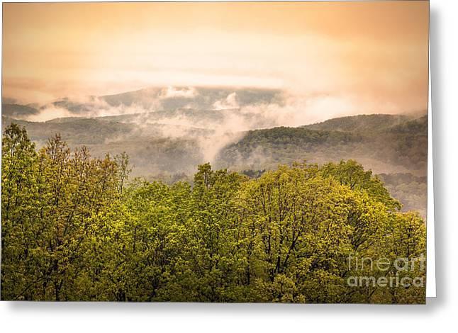 Ozark Mountains Greeting Cards - Sunrise Ozarks Mountain Fog in Arkansas Greeting Card by Brandon Alms