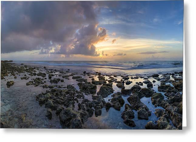 Sunrise Panorama Greeting Card by Debra and Dave Vanderlaan