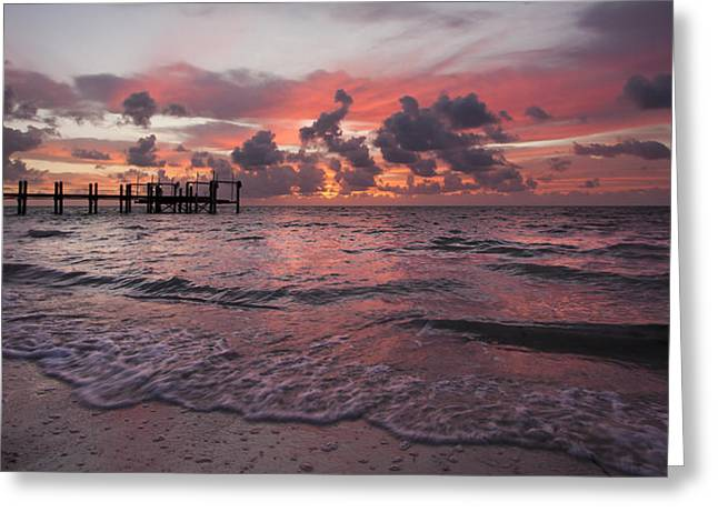 Florida Gulf Coast Greeting Cards - Sunrise Panoramic Greeting Card by Adam Romanowicz