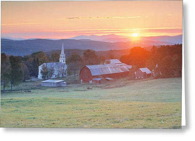 Vermont Village Greeting Cards - Sunrise Peacham Vt Usa Greeting Card by Panoramic Images