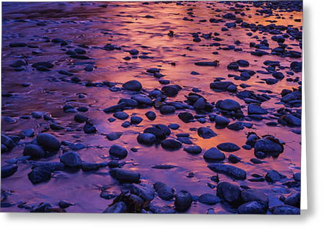 Water Flowing Greeting Cards - Sunrise pebbles Greeting Card by Vishwanath Bhat