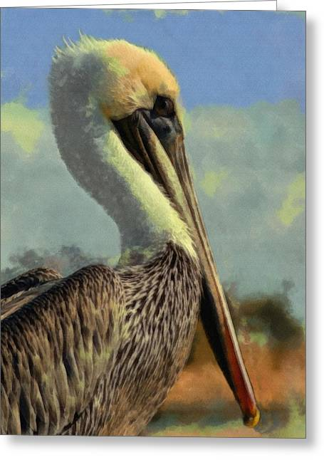 Sunrise Pelican Greeting Card by Ernie Echols