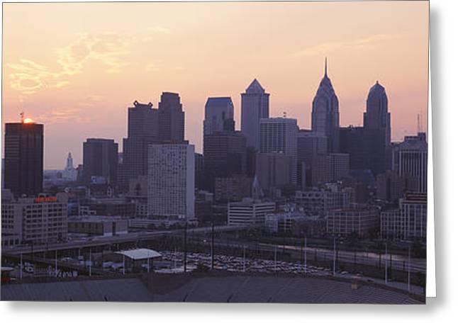 Pa Greeting Cards - Sunrise Philadelphia Pa Usa Greeting Card by Panoramic Images
