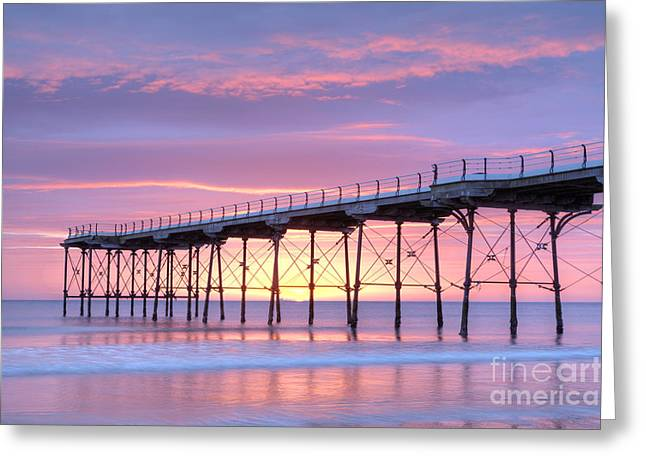 Cleveland Photographs Greeting Cards - Sunrise Pier Greeting Card by Colin and Linda McKie