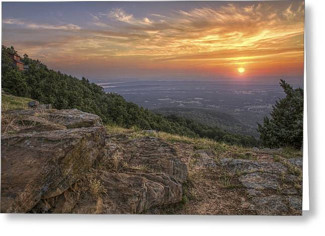 Russellville Arkansas Greeting Cards - Sunrise Point from Mt. Nebo - Arkansas Greeting Card by Jason Politte