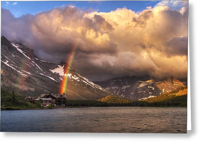 Many Glacier Greeting Cards - Sunrise Rainbow Greeting Card by Mark Kiver