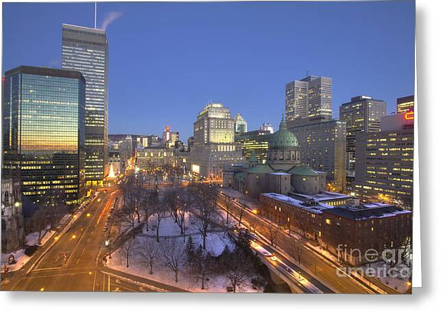Outlook Greeting Cards - Sunrise reflected in skyscrapers Place du Canada in Montreal Greeting Card by Bart De Rijk