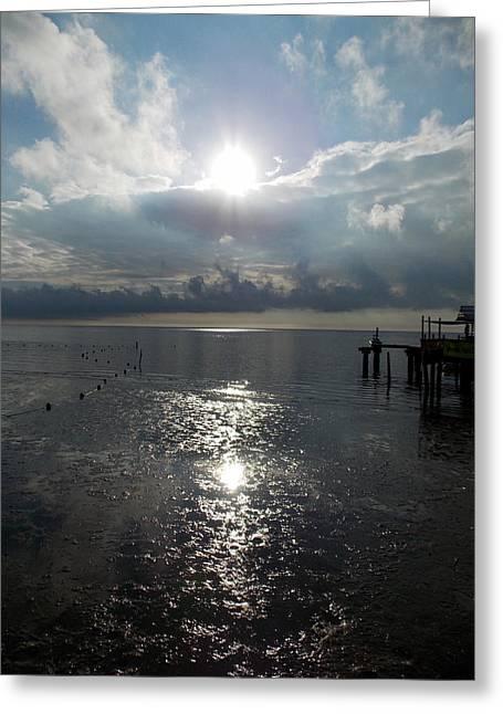 Cedar Key Greeting Cards - Sunrise Reflection Cedar Key Beach Greeting Card by Sheri McLeroy