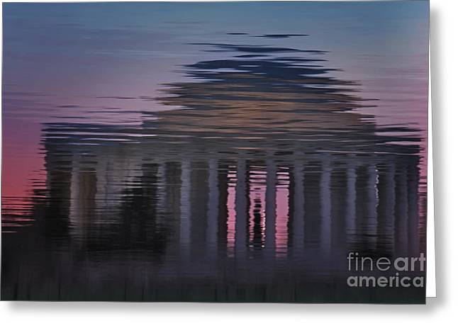 Susan Candelario Greeting Cards - Sunrise Reflections Of The Thomas Jefferson Memorial Greeting Card by Susan Candelario