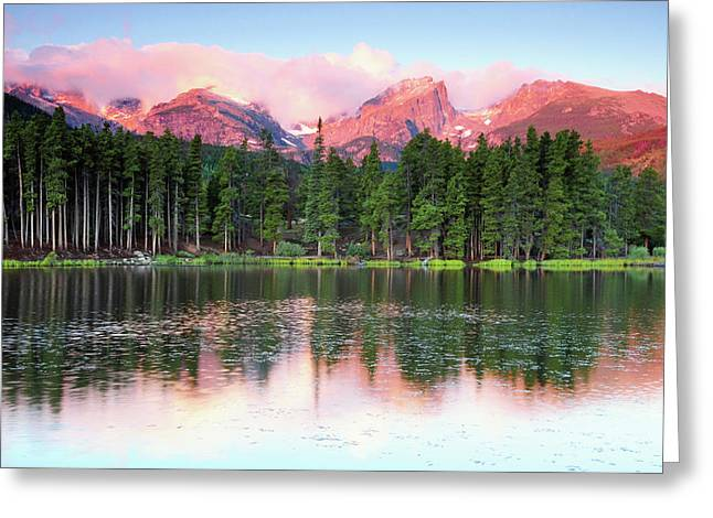 Sunrise Reflections On Sprague Lake Greeting Card by Michel Hersen