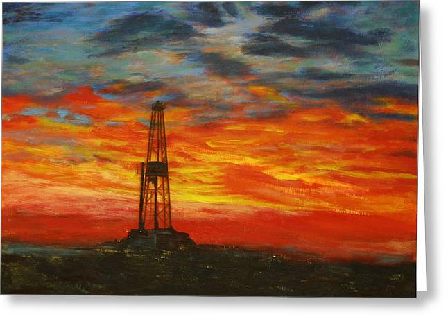 Silhoette Greeting Cards - Sunrise Rig Greeting Card by Karen  Peterson