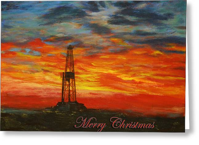 Sunrise Rig- Merry Christmas 2 Greeting Card by Karen  Peterson