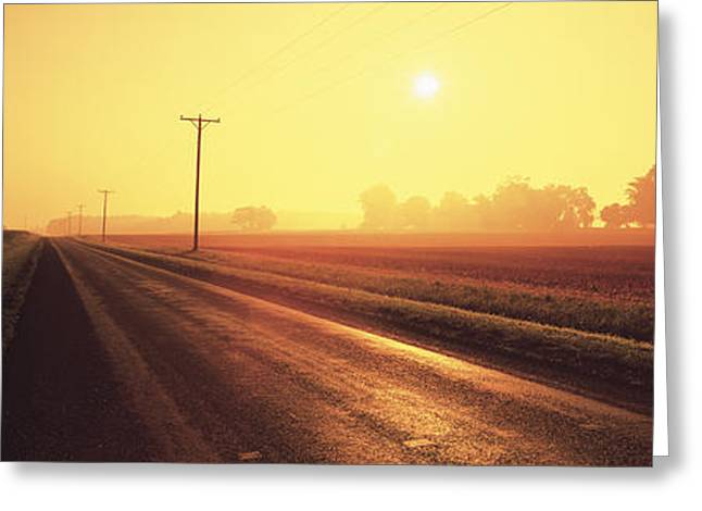 Haze Greeting Cards - Sunrise Road Maryland Usa Greeting Card by Panoramic Images