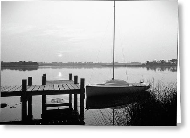 Buzzard Greeting Cards - Sunrise Sail Boat Greeting Card by Mike McGlothlen