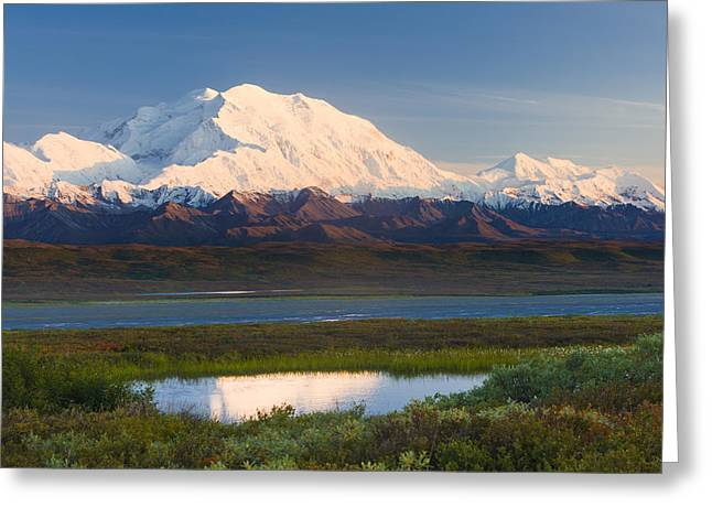 Cover The Face Greeting Cards - Sunrise Scenic Of Mt. Mckinley Greeting Card by Michael DeYoung