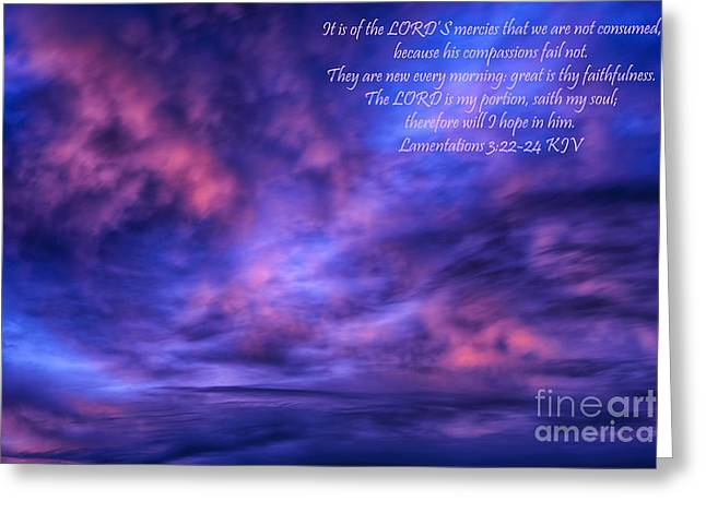 Lamentation Greeting Cards - Sunrise Scripture Greeting Card by Thomas R Fletcher