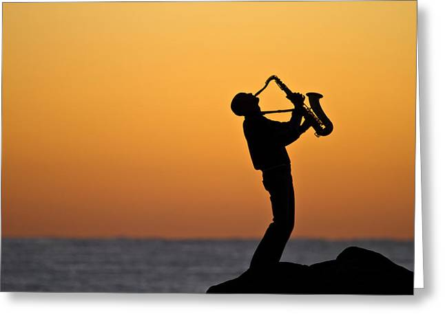 Saxaphone Greeting Cards - Sunrise Serenade Two Greeting Card by Brad Grove