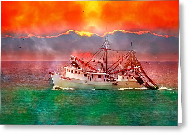 Shrimp Boat Captains Greeting Cards - Sunrise Shrimping Greeting Card by Betsy C  Knapp