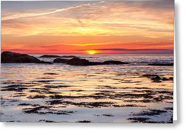 Panoramic Ocean Greeting Cards - Sunrise Silhouettes Odiorne Point Greeting Card by Jeff Sinon